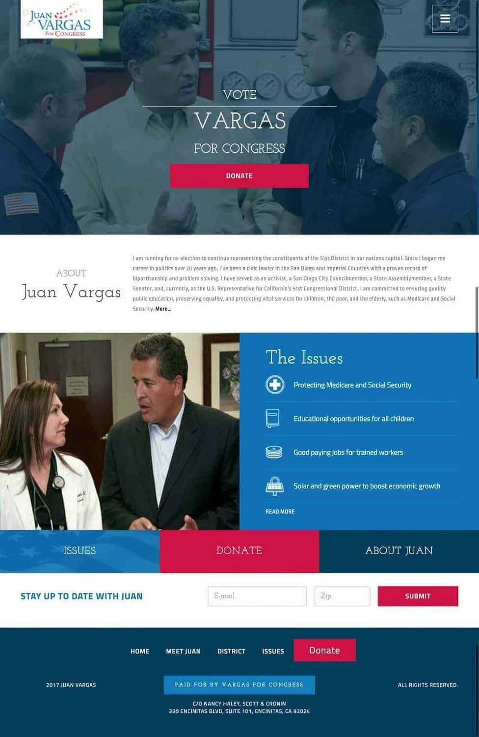Juan Vargas for Congress website design